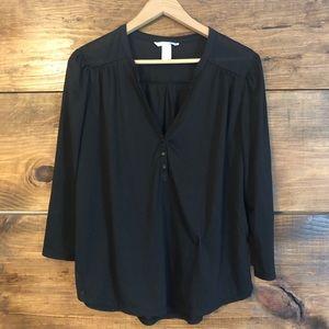 H&M black semi sheer top 3/4 sleeve